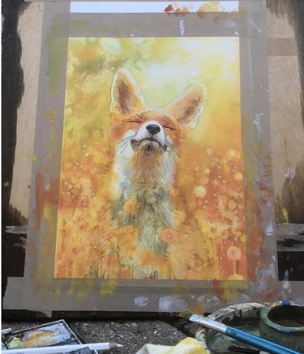 Fox in a field by RegM - Use the 'Create Similar' button to commission an artist to create your own artwork.