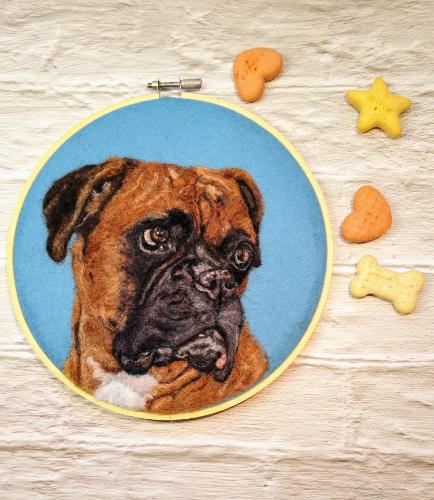 Artwork Boxer Dog Needle Felted Portrait
