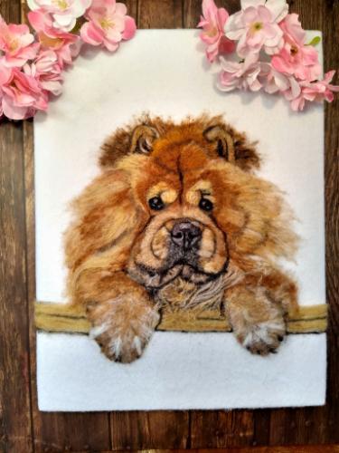 Artwork Chow Chow Needle felted dog portrait
