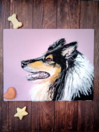 Artwork Rough Collie Needle Felt Portrait