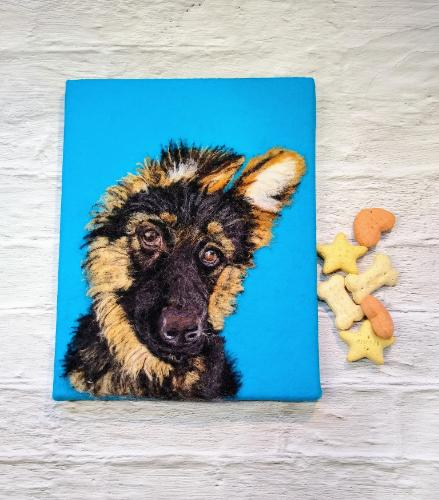Artwork German Shepherd Puppy Needle felt portrait