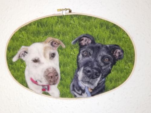 Artwork Double dog Needle felt portrait