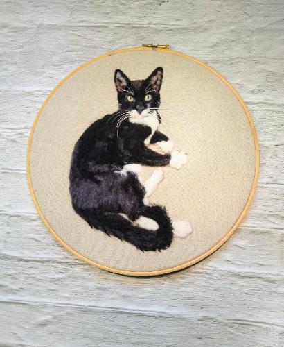 Artwork Cat Needle Felt Portrait