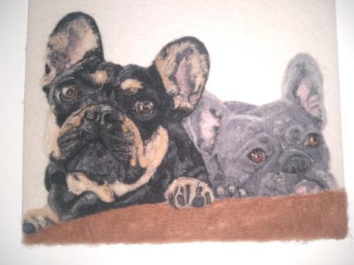 Artwork French Bulldogs Felted portrait