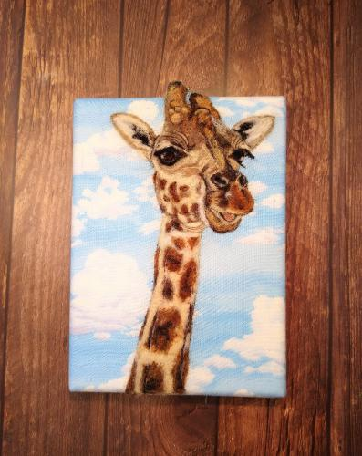 Artwork Giraffe Needle felted portrait