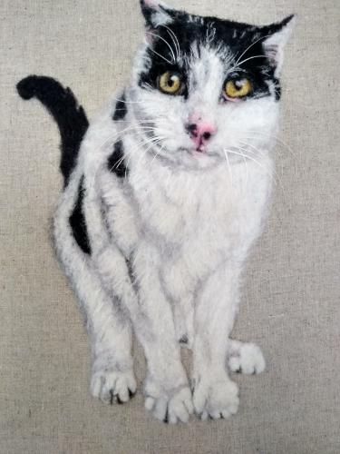 Artwork Cat Needle felt portrait