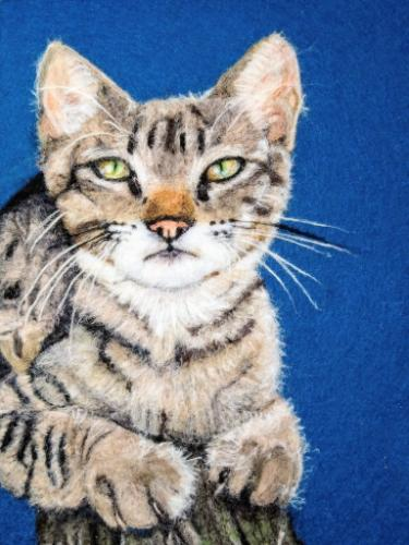 Artwork Tabby cat needle felt portrait