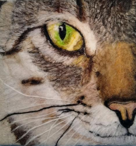 Tabby cat needle felt portrait by KarenP - Use the 'Create Similar' button to commission an artist to create your own artwork.