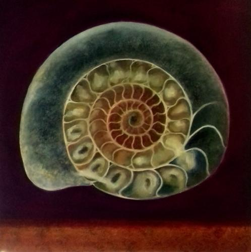Artwork Ammonite Green & Gold
