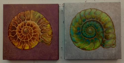 Artwork Gold and Silver Ammonites