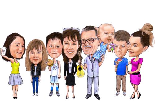 Artwork Family caricature portrait