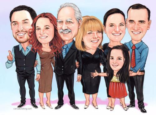 Family caricature portrait  by Dilber - Use the 'Create Similar' button to commission an artist to create your own artwork.