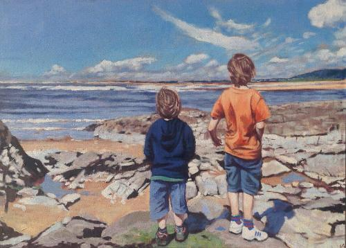 Artwork Two boys on a beach 40th birthday commission