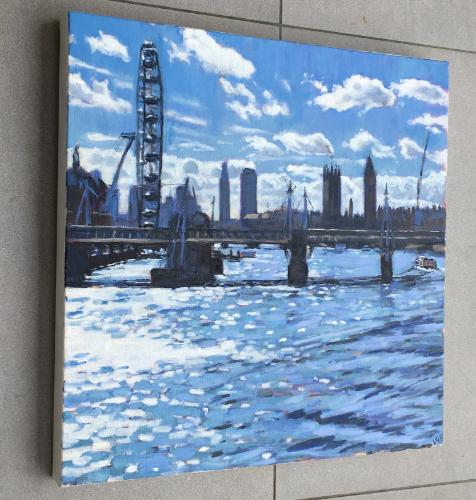 The Thames from Waterloo Bridge by Louise - Use the 'Create Similar' button to commission an artist to create your own artwork.