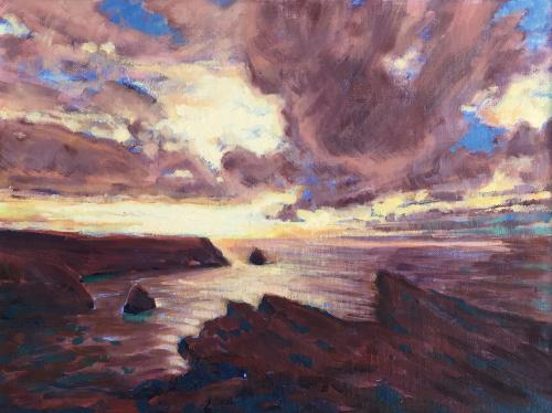 Artwork Sunset over Tintagel
