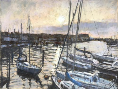 Artwork Weymouth Harbour dusk