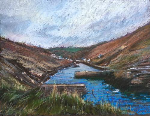 Artwork Boscastle, Cornwall oil pastel study