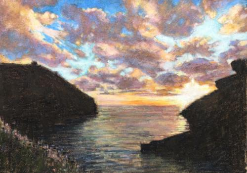 Artwork Boscastle sunset