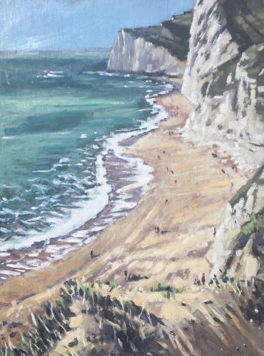 Artwork Winter on Durdle Door beach