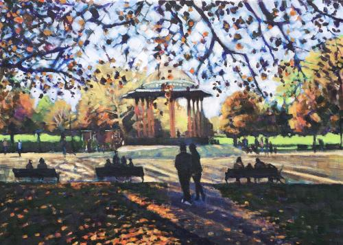 Autumn at the bandstand, Clapham Common by Louise - Use the 'Create Similar' button to commission an artist to create your own artwork.