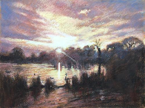 Artwork Sunset at Pen Ponds