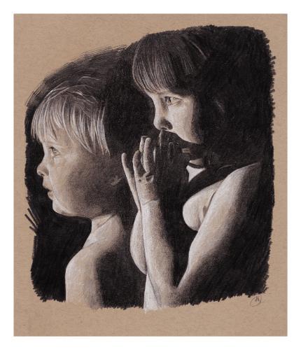 Artwork Graphite and white charcoal portrait