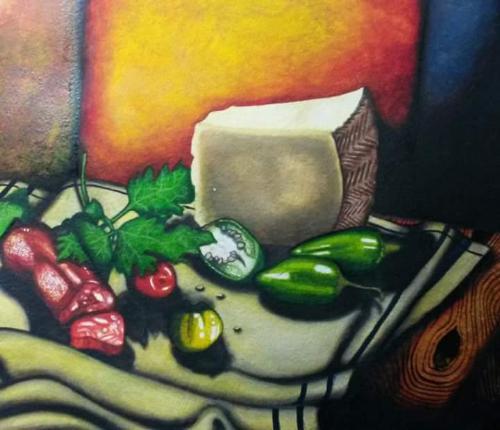 Artwork Manchego; Padrons, chorizo and Parsley