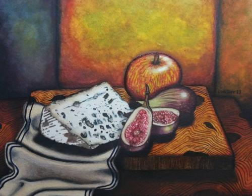 Artwork Still life of Blue cheese and figs
