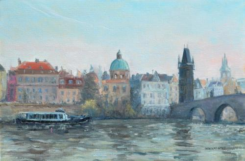 Artwork Prague - view across the river Vltava