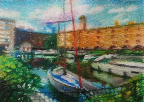 Artwork St. Katherine Docks on a sunny day