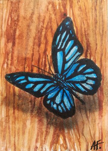 Artwork Butterfly landing on wood