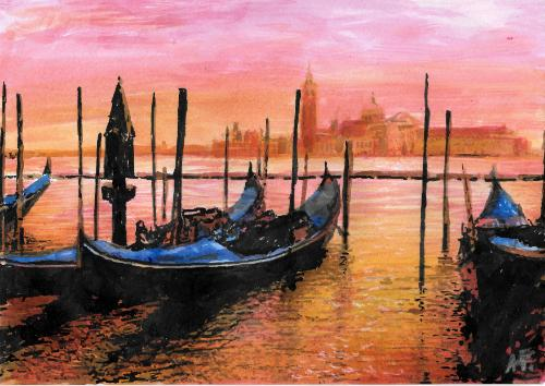 """Venezia al tramonto"" by Annalisa - Use the 'Create Similar' button to commission an artist to create your own artwork."