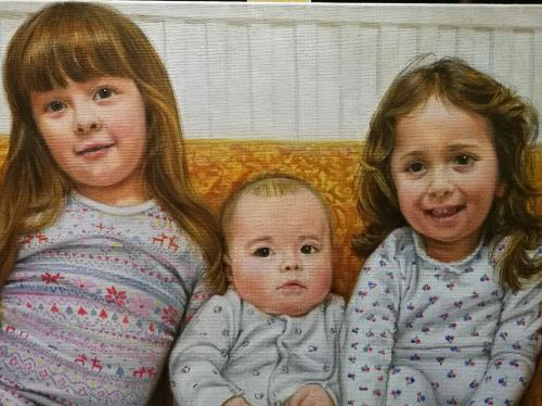Children portrait by Annalisa - Use the 'Create Similar' button to commission an artist to create your own artwork.