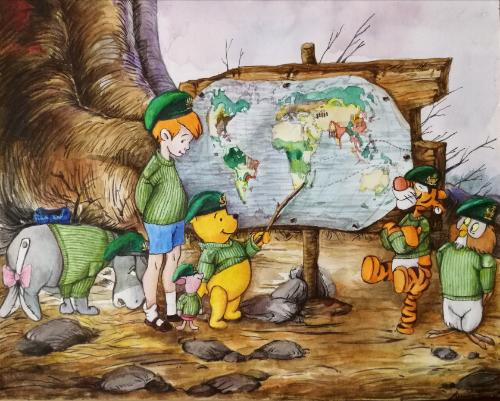 Artwork Winnie the Pooh on a mission