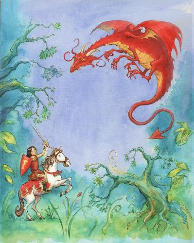 Artwork Knight and Dragon