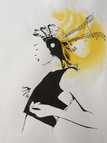 Artwork Kylie Minogue & musical notes magic