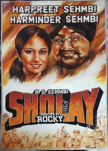"Artwork ""Sholay"" film poster recreation"