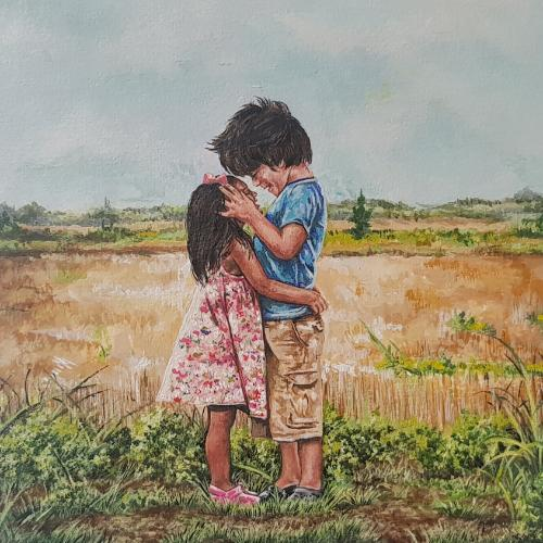 Artwork Love is Blind acrylic painting