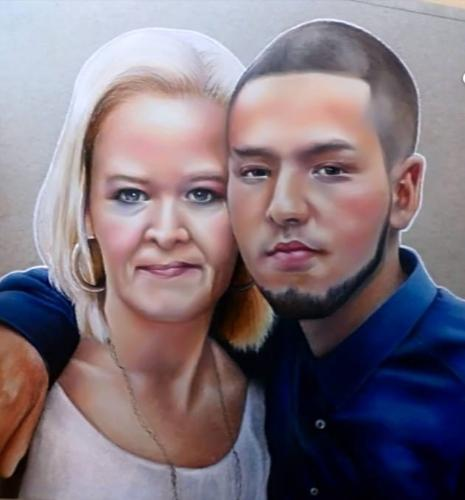 Artwork Drawing of mother and son