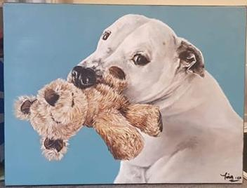 Painting of a dog and teddy by Toria - Use the 'Create Similar' button to commission an artist to create your own artwork.
