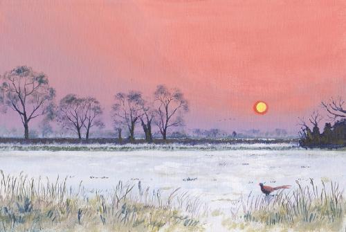 Artwork Wintery evening over Downing Farm