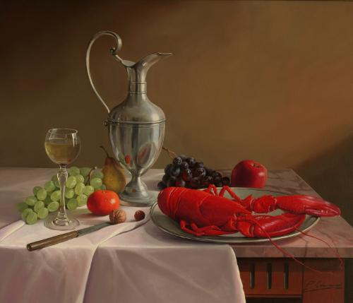 Artwork STILL LIFE WITH A LOBSTER AND FRUIT